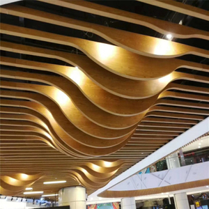Custom Aluminum Fireproof stretch Wave Baffle Ceiling Tile For interior Wall and roof Decoration